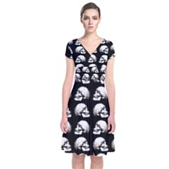 Halloween Skull Pattern Short Sleeve Front Wrap Dress