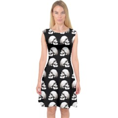 Halloween Skull Pattern Capsleeve Midi Dress