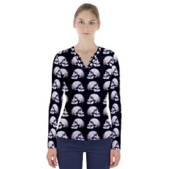 Halloween Skull Pattern V Neck Long Sleeve Top