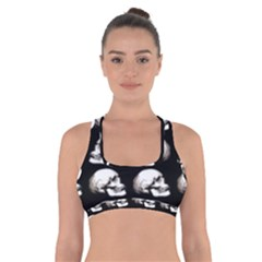 Halloween Skull Pattern Cross Back Sports Bra