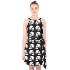 Halloween Skull Pattern Halter Collar Waist Tie Chiffon Dress