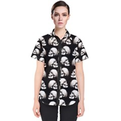Halloween Skull Pattern Women s Short Sleeve Shirt