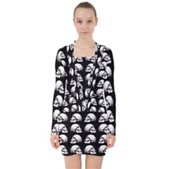 Halloween Skull Pattern V Neck Bodycon Long Sleeve Dress
