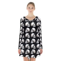Halloween Skull Pattern Long Sleeve Velvet V Neck Dress