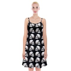 Halloween Skull Pattern Spaghetti Strap Velvet Dress