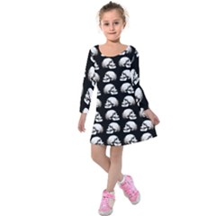 Halloween Skull Pattern Kids  Long Sleeve Velvet Dress