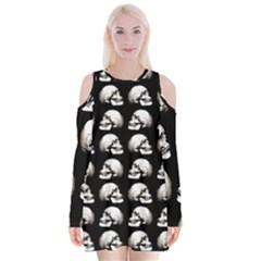 Halloween Skull Pattern Velvet Long Sleeve Shoulder Cutout Dress