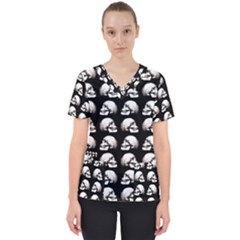 Halloween Skull Pattern Scrub Top