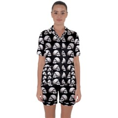 Halloween Skull Pattern Satin Short Sleeve Pyjamas Set