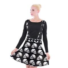 Halloween Skull Pattern Suspender Skater Skirt
