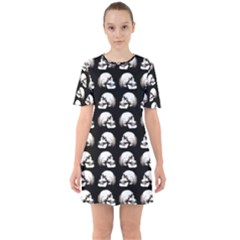 Halloween Skull Pattern Sixties Short Sleeve Mini Dress