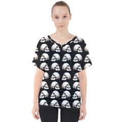 Halloween Skull Pattern V Neck Dolman Drape Top