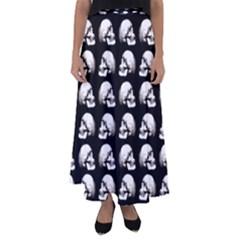Halloween Skull Pattern Flared Maxi Skirt