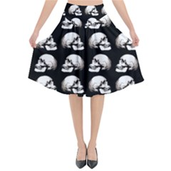 Halloween Skull Pattern Flared Midi Skirt