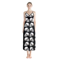 Halloween Skull Pattern Button Up Chiffon Maxi Dress