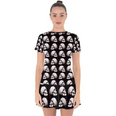 Halloween Skull Pattern Drop Hem Mini Chiffon Dress