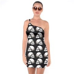 Halloween Skull Pattern One Soulder Bodycon Dress