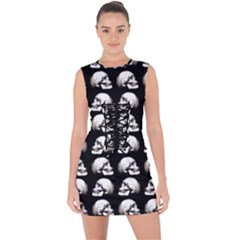 Halloween Skull Pattern Lace Up Front Bodycon Dress