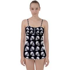 Halloween Skull Pattern Babydoll Tankini Set