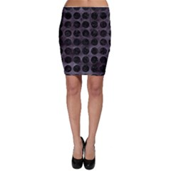Circles1 Black Marble & Black Watercolor (r) Bodycon Skirt