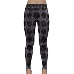 Circles1 Black Marble & Black Watercolor (r) Classic Yoga Leggings