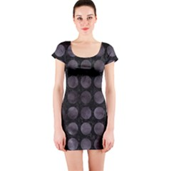 Circles1 Black Marble & Black Watercolor Short Sleeve Bodycon Dress