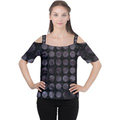 Circles1 Black Marble & Black Watercolor Cutout Shoulder Tee