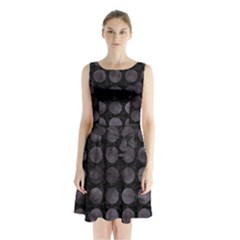 Circles1 Black Marble & Black Watercolor Sleeveless Waist Tie Chiffon Dress