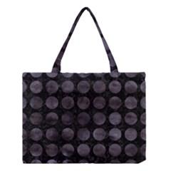 Circles1 Black Marble & Black Watercolor Medium Tote Bag