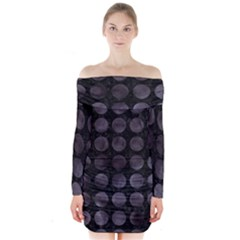Circles1 Black Marble & Black Watercolor Long Sleeve Off Shoulder Dress