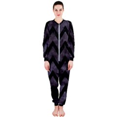 Chevron9 Black Marble & Black Watercolor (r) Onepiece Jumpsuit (ladies)
