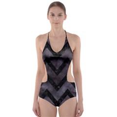 Chevron9 Black Marble & Black Watercolor (r) Cut Out One Piece Swimsuit