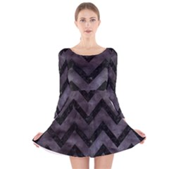 Chevron9 Black Marble & Black Watercolor (r) Long Sleeve Velvet Skater Dress