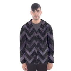 Chevron9 Black Marble & Black Watercolor Hooded Wind Breaker (men)
