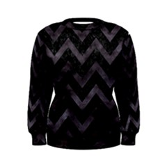 Chevron9 Black Marble & Black Watercolor Women s Sweatshirt