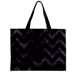 Chevron9 Black Marble & Black Watercolor Zipper Mini Tote Bag