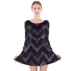 Chevron9 Black Marble & Black Watercolor Long Sleeve Velvet Skater Dress