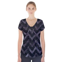 Chevron9 Black Marble & Black Watercolor Short Sleeve Front Detail Top