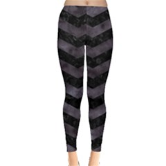 Chevron3 Black Marble & Black Watercolor Leggings