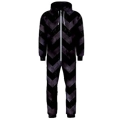 Chevron3 Black Marble & Black Watercolor Hooded Jumpsuit (men)