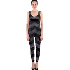 Chevron3 Black Marble & Black Watercolor Onepiece Catsuit
