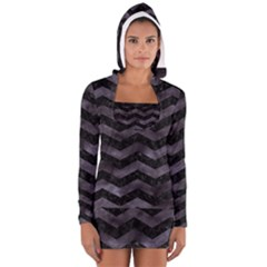 Chevron3 Black Marble & Black Watercolor Long Sleeve Hooded T Shirt
