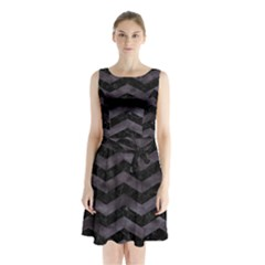 Chevron3 Black Marble & Black Watercolor Sleeveless Waist Tie Chiffon Dress