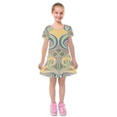 Art Nouveau Kids  Short Sleeve Velvet Dress