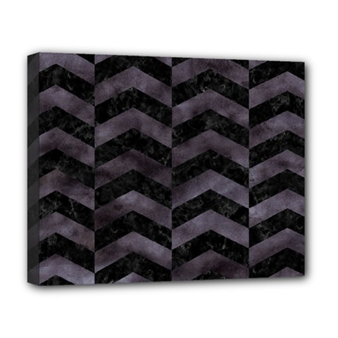 Chevron2 Black Marble & Black Watercolor Deluxe Canvas 20  X 16