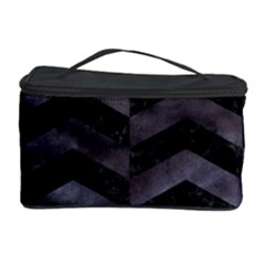 Chevron2 Black Marble & Black Watercolor Cosmetic Storage Case