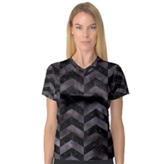 Chevron2 Black Marble & Black Watercolor V Neck Sport Mesh Tee