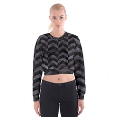 Chevron2 Black Marble & Black Watercolor Cropped Sweatshirt