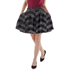 Chevron2 Black Marble & Black Watercolor A Line Pocket Skirt