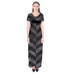 Chevron2 Black Marble & Black Watercolor Short Sleeve Maxi Dress